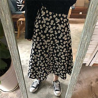 Vintage Floral Print Ruffle Pleated Long Skirts Summer Women Streetwear