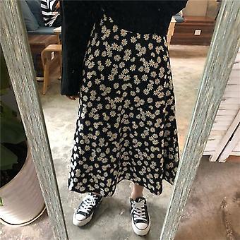 Vintage Floral Print Ruffle Plissert lange skjørt sommer Kvinner Streetwear