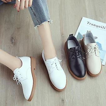Loafers Comfort Genuine Leather Flats Shoe,s Lace Up Woman Moccasins Oxfords