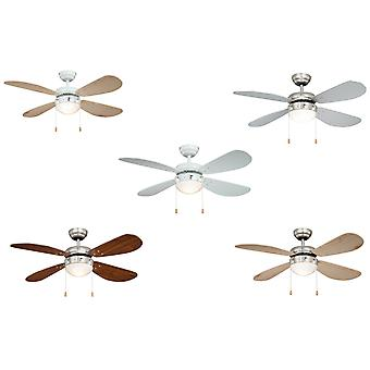 Ceiling fan CLASSIC with light in various colours