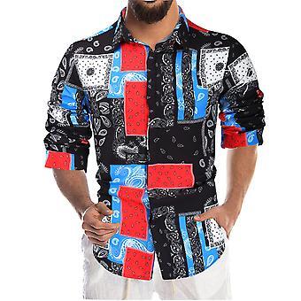 YANGFAN Men's Printed Long Sleeve Shirt Color Blocked Top
