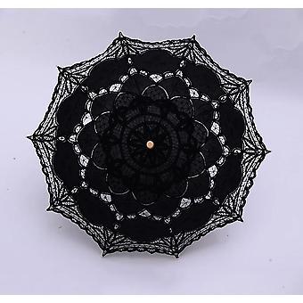 Vintage viktoriaaninen pitsi manuaalinen avaaminen häät morsiamen sateenvarjo