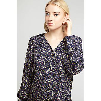 Louche Womens Ismelda Hedgehog Print long Sleeve Top Navy