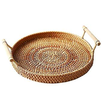 Rattan Storage Tray, Round Basket With Handle, Hand-woven, Rattan Tray Wicker