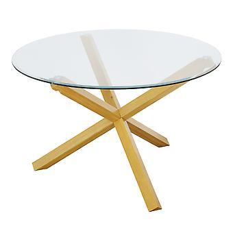 BecCoris Plus Table Oak Glass Top