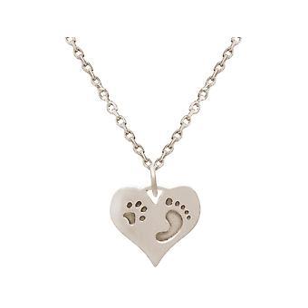 GEMSHINE Halsbandsavtryck på mitt hjärta. Tassar i 925 silver, guldpläterade, ros