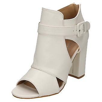 Koi Footwear Ankle Strap Boots High Block Heel Peep Toe Cut Out