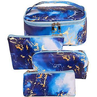 Bizcasa 4 Stck Kosmetiktaschen, Marmor Kosmetikkoffer, Tragbare Reise Make-Up Schminkkoffer Taschen