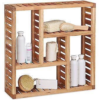 Relaxdays Wandregal Walnuss mit 5 Fchern, fr Badezimmer, Flur und Wohnzimmer, Stauraum, HxBxT: 50 x