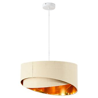 HOMCOM Modern Pendant Light with Adjustable Hanging Chain and Two Bevel Nested Lampshade, Metal Chandelier for Living Room, Bedroom, Dining Room, Office, Beige and Gold