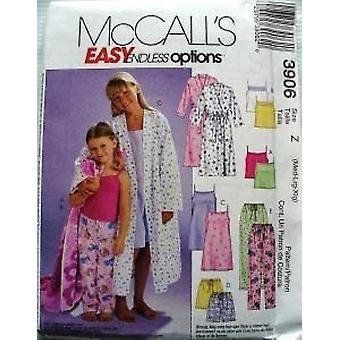 McCalls Patroon 3906 Childs Girls Robe Belt Tops Gown Shorts Broek Maat M-XL