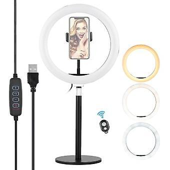 10 tums ring ljus Selfie Skönhet LED-ljus USB-drivna 3 belysningslägen dimbar