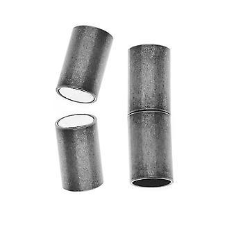 Magnetiske hægter, Tube Cord Ends Passer 6,2 mm ledning, 1 sæt, antik sølvbelagt