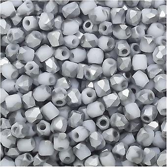 True2 Czech Fire Polished Glass, Faceted Round Beads 2mm, 50 Pieces, Chalk White Matte Labrador