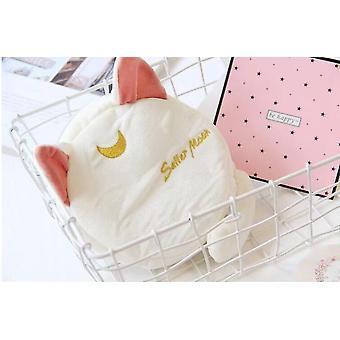 Super söt plysch leksak tecknad Sailor Moon luna katt mjuk myntpåse kosmetisk väska