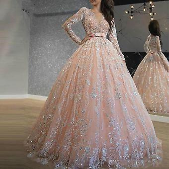 Vestidos de baile de renda de lantejoulas brilhantes quinceanera (conjunto 2)
