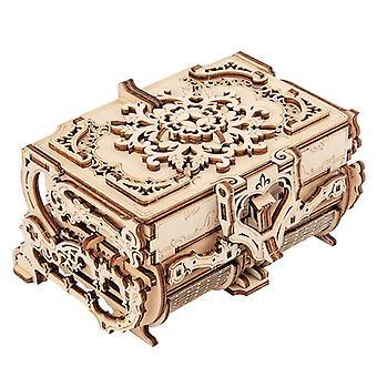Caja de joyería de madera 3D montado rompecabezas creativo transmisión mecánica de madera