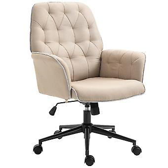 Vinsetto Linen Office Swivel Chair Mid Back Computer Desk Chair with Adjustable Seat, Arm - Beige