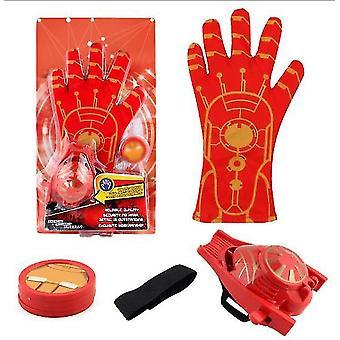 2Pcs red+gold kids superhero magic gloves with wrist ejection launcher az19025