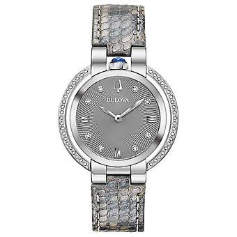 Bulova Rubaiyat Diamond Leather Ladies Watch 96R218