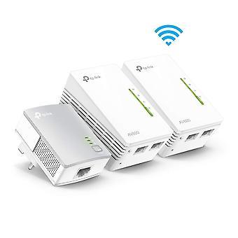TP-LINK (KIT TL-WPA4220T) Adattatore powerline AV600 Wireless N da 300 Mbps Triple Kit UK Plug