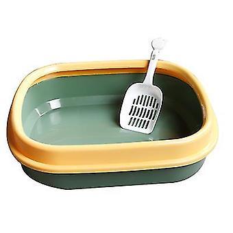 Cat Litter Box Semi-enclosed Cat Toilet Litter Box With cat litter shovel (Dark Green)