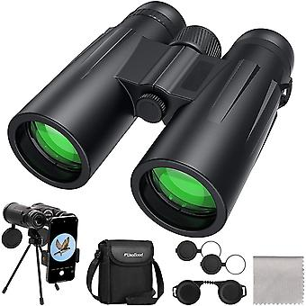 Jumelles 12 x 42 pour adultes avec trépied, jumelles compactes imperméables pour l'observation des oiseaux, la randonnée, les voyages, l'adaptateur binoculaire intelligent pour la photographie, (noir)