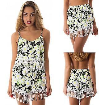 Vrouwen zomer shorts bloemen print kwastje losse elastische taille casual strand hot pants