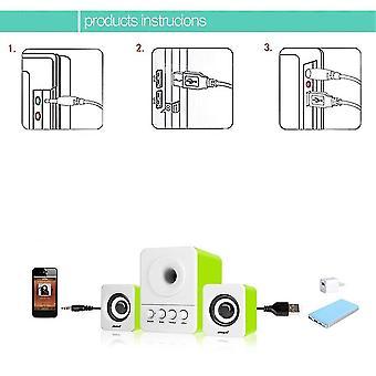 Sada Usb2.1 & 3.5mm Audio Interface Stereo Subwoofer Audio Portable Speaker