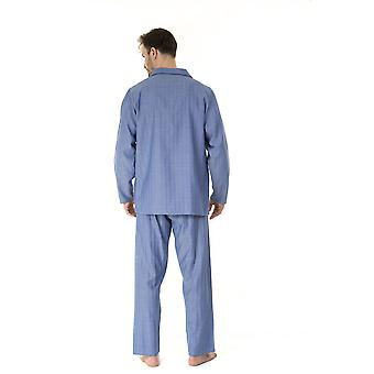 Haigman Mens 100% Cotton Long Pyjama Lounge Wear - Herringbone - XX-Large