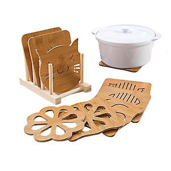 9Pcs רכבת עץ פלסמט גביע מחזיק כרית כרית לעמוד שולחן מחצלת תחתיות