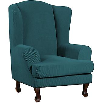 Stretch jacquard wingback chair covers slipcovers wing chair covers (base cover plus seat cushion cover, dark teal)