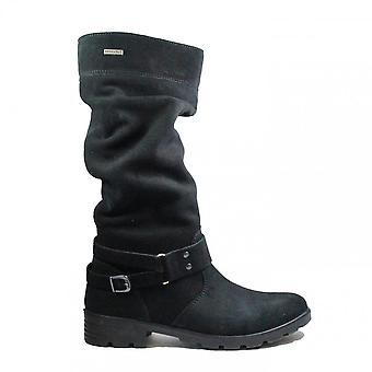Ricosta Riana 7220100-091 Nero Nabuk Leather Girls Winter Long Leg Boots