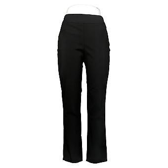 MarlaWynne Women's Pants Stretch Twill FLATTERfit With Slit Black 646478