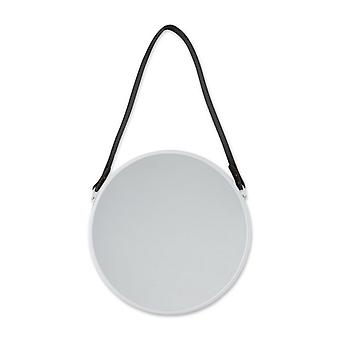 Accent Plus Round Hanging Wall Mirror with Faux Leather Strap - White, Pack of 1