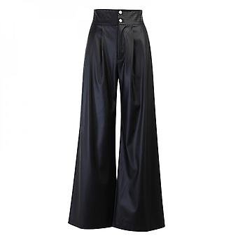 Solid Color Wide Leg Pu Leather Pants Sexy High Waist Fashion Leather Pants