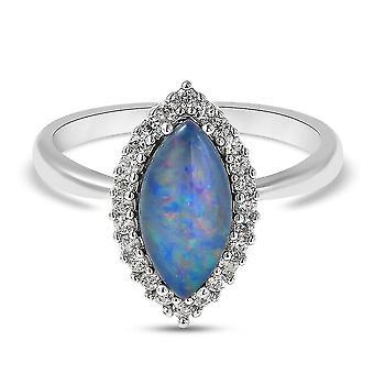 Blue Boulder Opal Halo Ring Sterling Silber Jubiläumsgeschenk Weiß Zirkon 5ct(P)