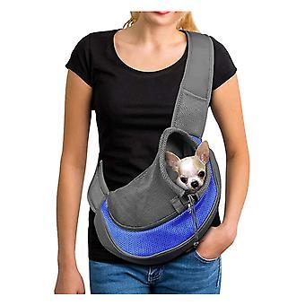 Hundetragetasche Einstellbare Welpen Katzenschultertasche Kleine Haustier Reisetasche Hundehandtasche mit atmungsaktiver Netztasche Tragbare Hundetasche für Outdoor-Markt Blau