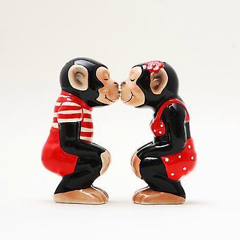 Boy and Girl Chimps Kissing Salt and Pepper Shaker Set