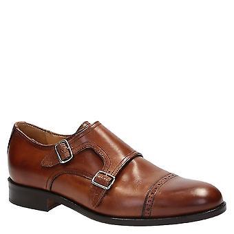 Chaussures de robe de la main moine double sangle en cuir marron