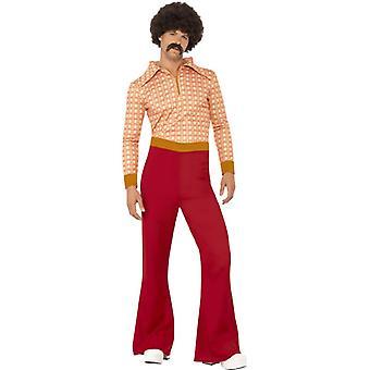 70 's disco dancer pak chique oranje kostuum mannen