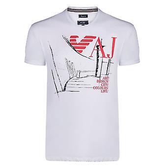 Armani White Graphic Mens T-Shirt