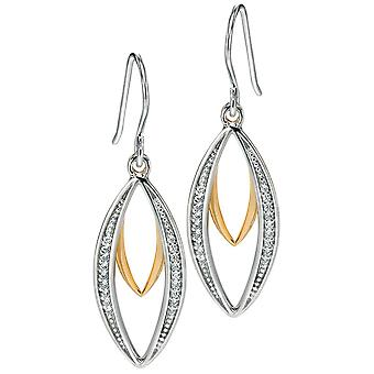 925 Silver Gold Plated Zirconium Fashionable Earring