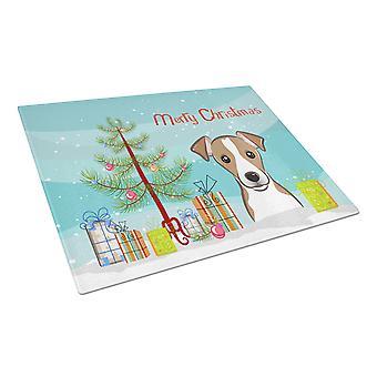 Weihnachtsbaum und Jack-Russell-Terrier Glas Schneidebrett groß