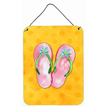 Tongs rose jaune Polkadot mur ou porte accrocher impressions