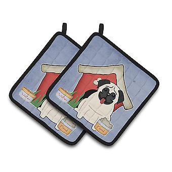 Dog House Collection Pug Cream Pair of Pot Holders