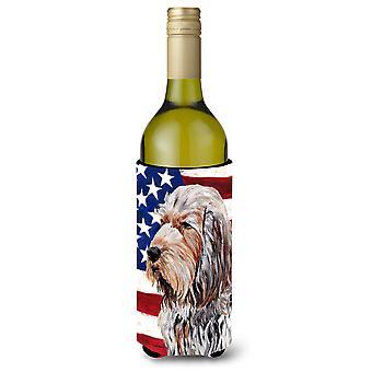 Otterhund mit amerikanische Flagge USA Wein Flasche Getränk Isolator Hugger