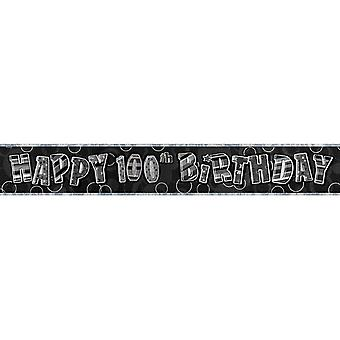 Unique Party 100th Birthday Black/Silver Glitz Foil Banner