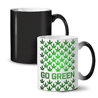 Green Cannabis Pot NEW Black Colour Changing Tea Coffee Ceramic Mug 11 oz | Wellcoda
