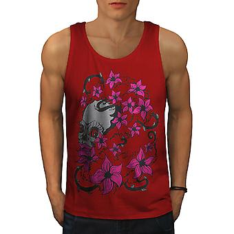 Skull Head Face Men RedTank Top | Wellcoda